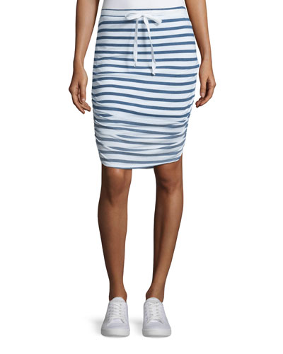 Sunfaded-Striped Pencil Skirt, Navy