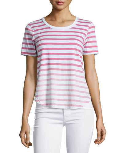 Sunfaded Striped Short-Sleeve Top, Fuchsia/Rose