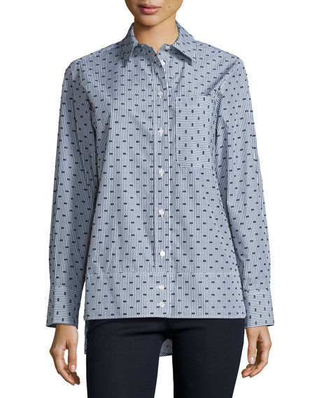See by Chloe Button-Front Dot-Print Shirt, Gray/Multi