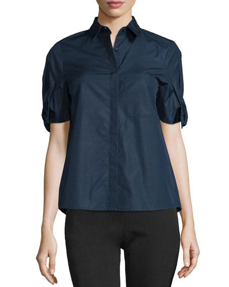 Short-Sleeve Poplin Blouse, Navy