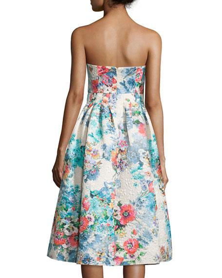 Strapless Floral-Print Tea Dress, Beige