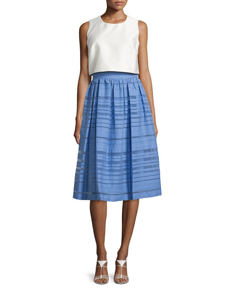 Sleeveless Popover Striped-Skirt Dress, Off White/Periwinkle