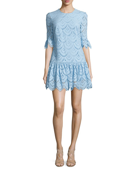 Cynthia Rowley Scallop-Embroidered Flounce-Hem Dress, Sky Blue