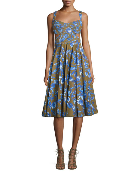 Cynthia Rowley Paradise Garden Fit-&-Flare Dress, Olive
