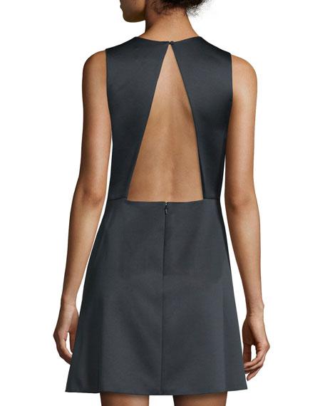 Sleeveless Floral-Print Mini Dress, Black