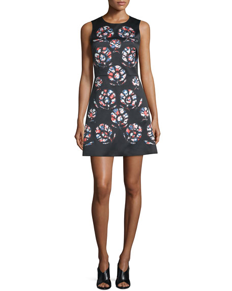 Cynthia Rowley Sleeveless Floral-Print Mini Dress, Black