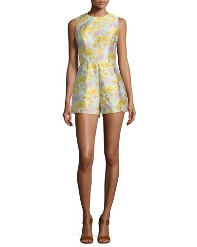 Cynthia Rowley Sleeveless Tropical-Print Romper. Mint/Multi