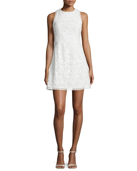 Sleeveless Embroidered Mini Dress, White