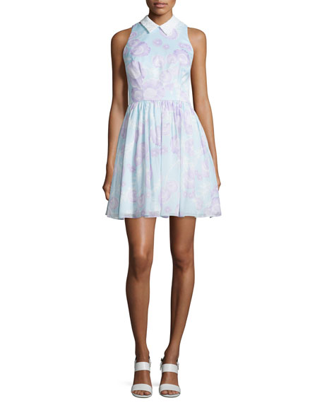 Cynthia Rowley Sleeveless Collared Disco-Floral Dress, Mint/Multi
