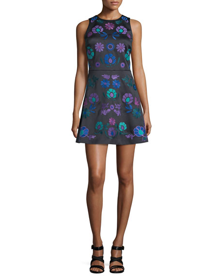 Cynthia Rowley Sleeveless Embroidered Mini Dress, Black