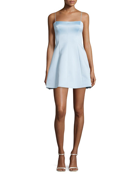 Sleeveless Fit-&-Flare Dress, Sky Blue