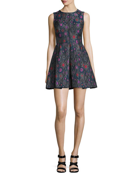 Cynthia Rowley Sleeveless Embroidered Party Dress, Charcoal