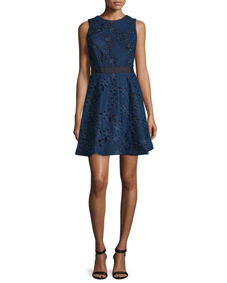 Cynthia Rowley Sleeveless Fit-&-Flare Lace Dress, Navy