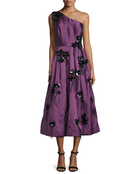 Cynthia RowleyOne-Shoulder Embellished Tea-Length Dress, Plum