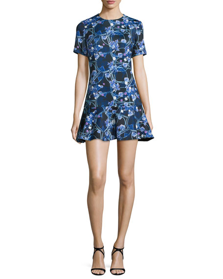 Cynthia Rowley Short-Sleeve Flounce-Hem Dress, Black/Lilac