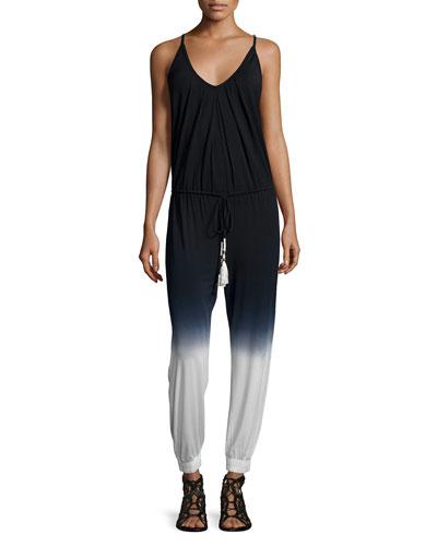 Camdyn Sleeveless Drawstring-Waist Jumpsuit, Black Ombre