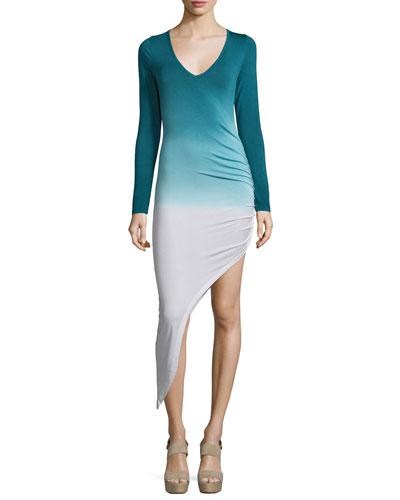 Haile Long-Sleeve Asymmetric-Hem Dress, Sea Ombre