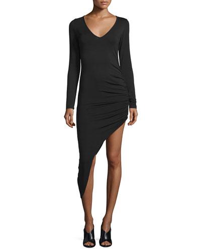 Haile Long-Sleeve Asymmetric-Hem Dress, Black
