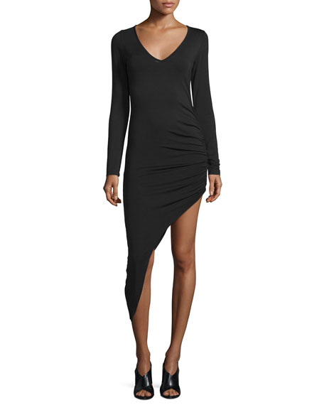 Young Fabulous and Broke Haile Long-Sleeve Asymmetric-Hem Dress, Black