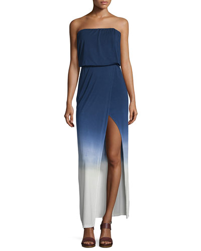 Amari Strapless Maxi Dress, Navy Ombre