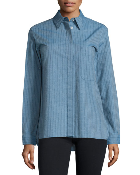 See by Chloe Long-Sleeve Button-Front Shirt, Denim