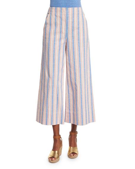 Tory Burch Eva Wide-Leg Cropped Pants, Cato Stripe