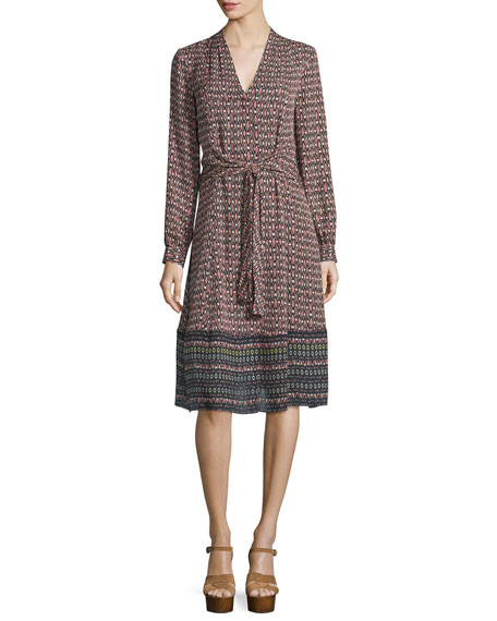 Kobi Halperin Margaux Printed Long-Sleeve Tie Dress