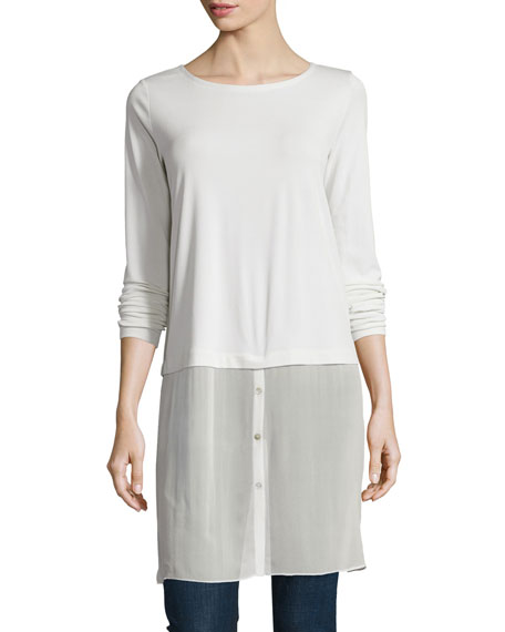 Eileen Fisher Long-Sleeve Double-Layer Tunic