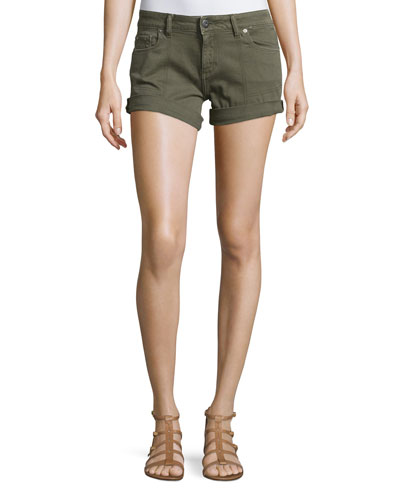 Foster Rolled-Cuff Denim Shorts, Fennel