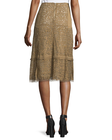 Daphne Laser-Cut Leather Skirt, Sandstone
