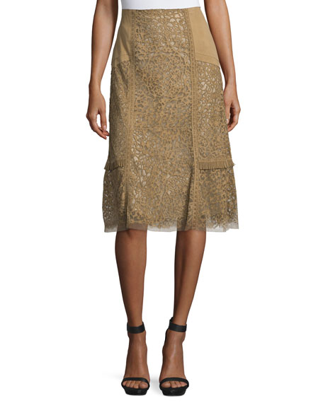 Kobi Halperin Daphne Laser-Cut Leather Skirt, Sandstone