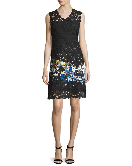 Elie Tahari Tinley Sleeveless Lace Sheath Dress, Multi