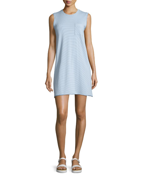 ATM Sleeveless Striped Tank Dress, Powder Blue/White