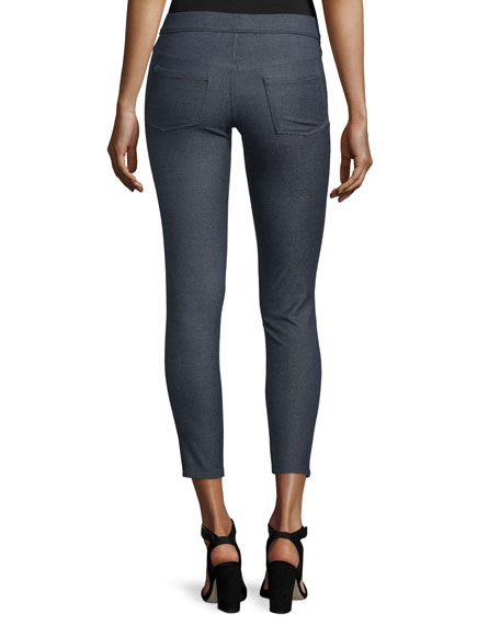 Cropped Stretch Denim Leggings, Indigo