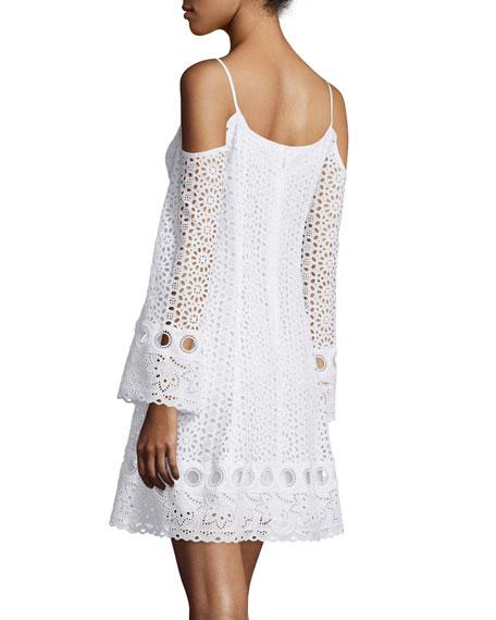 Cold-Shoulder Eyelet A-line Dress, White