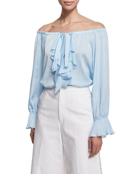 Nanette Lepore Off-the-Shoulder Ruffle-Front Top