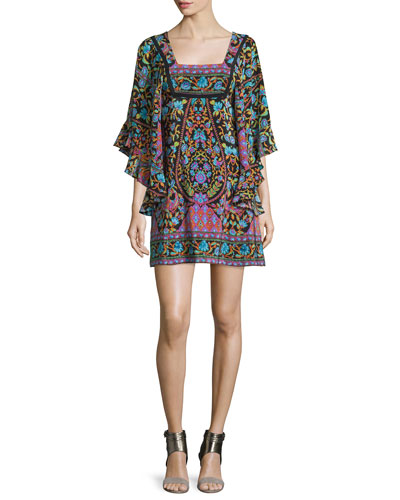 Flutter-Sleeve Mixed-Print Mini Dress, Black