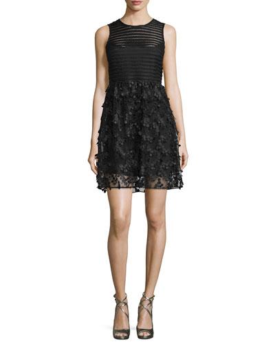 Sleeveless Mesh-Striped Combo Fit-&-Flare Dress, Black