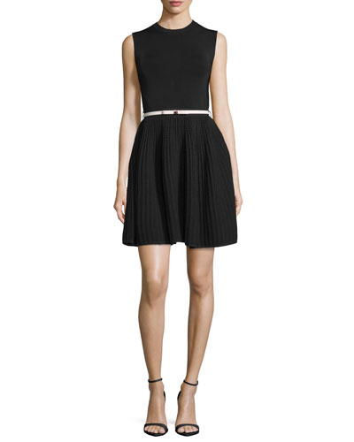 Alicii Sleeveless Belted Dress, Black