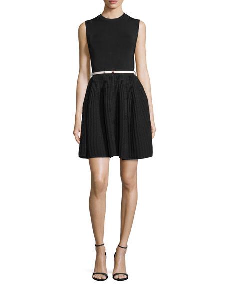 Alicii Sleeveless Belted Dress, Black