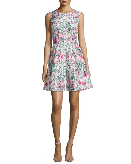 Ted Baker London Gaea Layered-Bouquet Fit-&-Flare Dress, Cream
