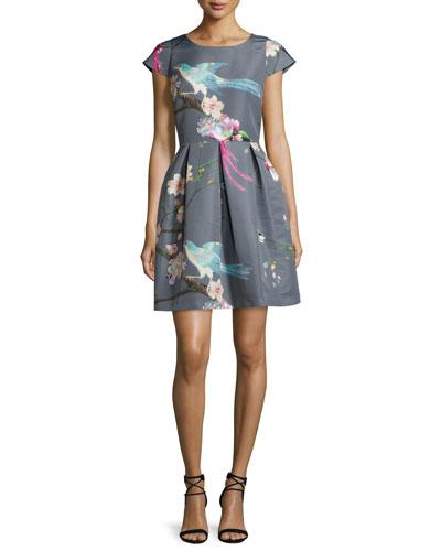 Zaldana Flight-Of-The-Orient Party Dress, Light Gray