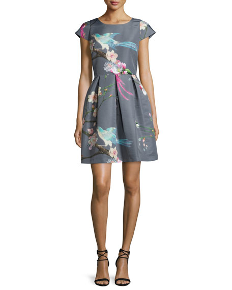 Ted Baker London Zaldana Flight-Of-The-Orient Party Dress, Light Gray