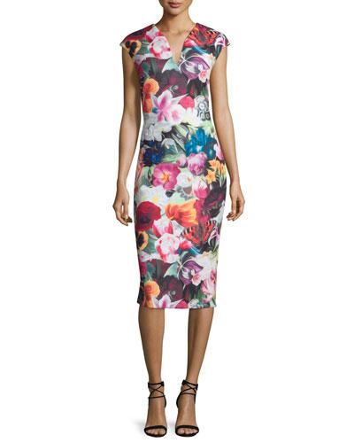Odeela Floral-Swirl Midi Sheath Dress, Fuchsia