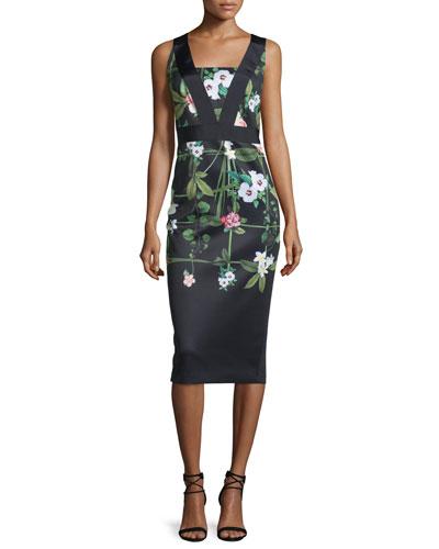 Kacied Secret Trellis-Print Midi Sheath Dress, Black