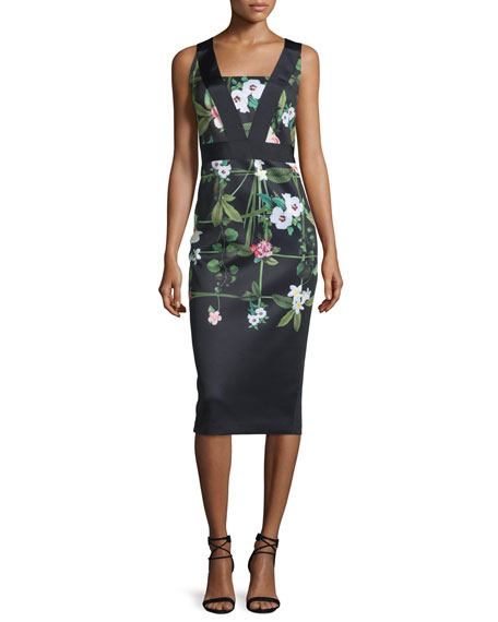 Ted Baker London Kacied Secret Trellis-Print Midi Sheath Dress, Black
