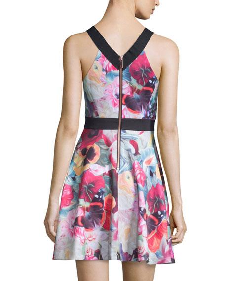 Samra Floral-Swirl Skater Dress, Fuchsia