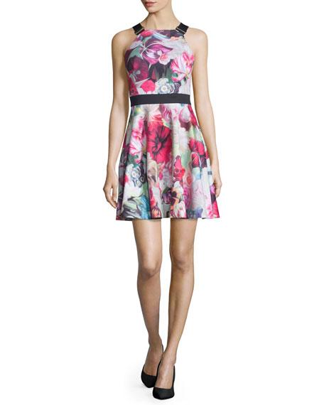 Ted Baker London Samra Floral-Swirl Skater Dress, Fuchsia