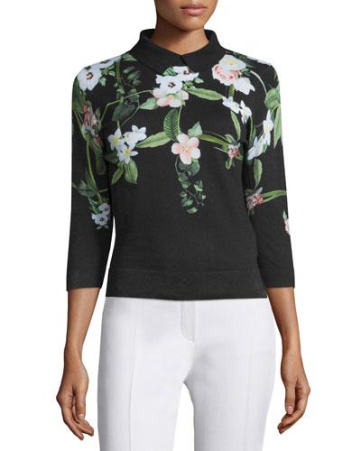 Nellia Secret Trellis-Print Sweater, Black