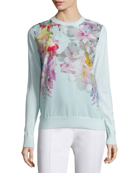 Ted Baker London Gertey Hanging-Gardens Sweater, Mint